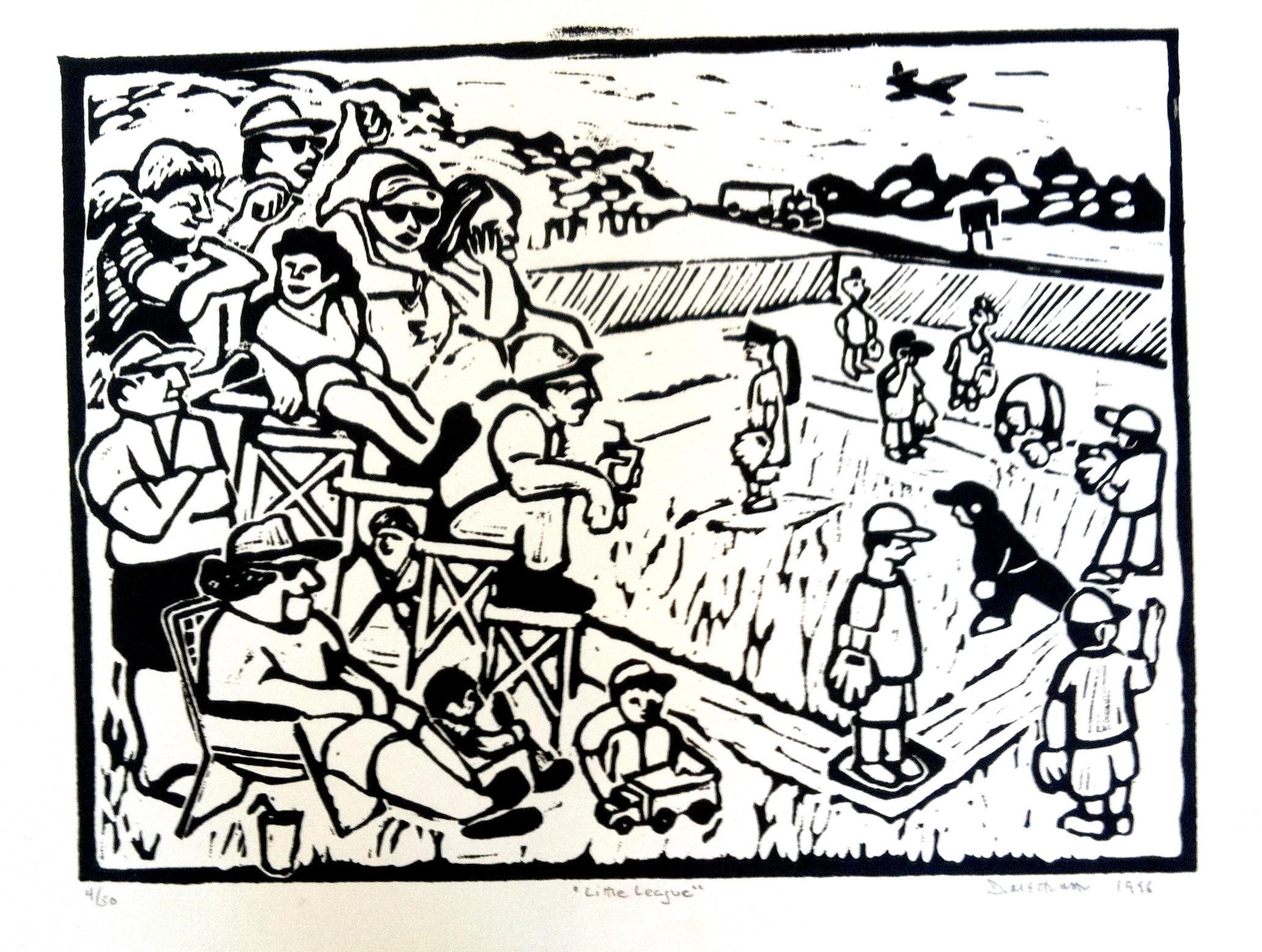 Linocut Print on Paper -- Little League