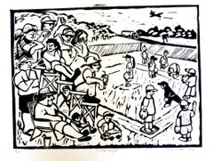 Linocut Print on Paper -- Little League