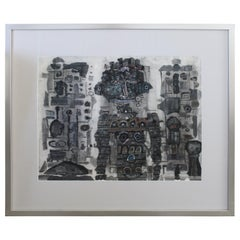 Dan Miller Mixed-Media Painting Tribal Robots