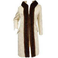 Dan Millstein Ecru Quilted Mink Collar Coat, 1960s