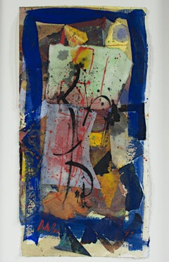 """""""Black Lines Can Move,"""" Abstract Mixed Media on Paper signed by Dan Muller"""