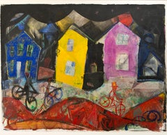 """Houses at Night,"" colorful mixed media collage painting by Dan Muller"