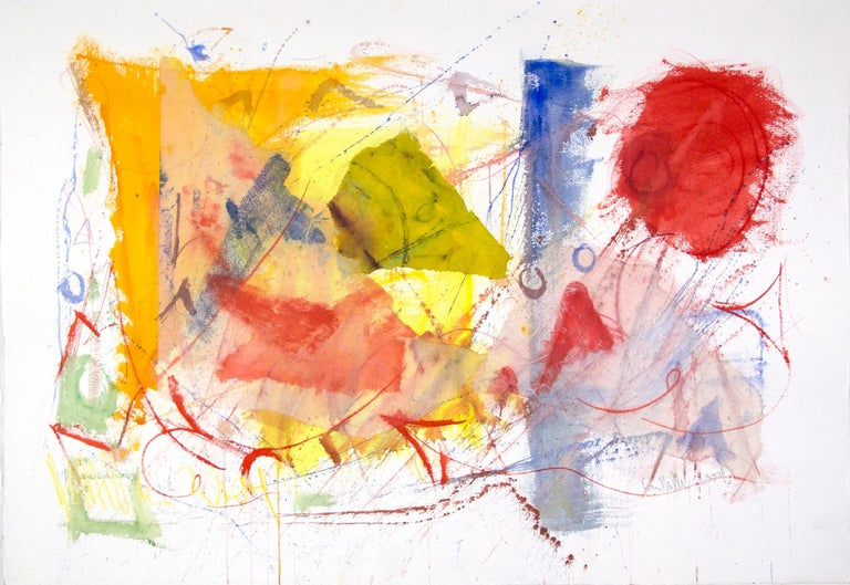 """It Grew From Three"" is an original mixed media watercolor painting by Dan Muller. The artist signed the piece lower right. This artwork features abstract shapes in the primary colors.   29 3/4"" x 41 3/4"" art Custom framing is available  Born in"