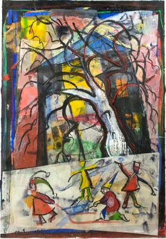 """Sledding by the Big Tree,"" colorful mixed media collage painting by Dan Muller"