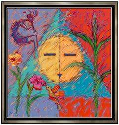 Dan Namingha Acrylic Painting On Canvas Large Native American Kachina Signed Art