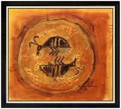 Dan Namingha Oil Painting On Canvas Native American Hopi Signed Framed Artwork