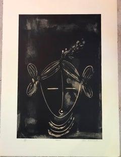 Mana (Girl), Hopi Kachina lithograph by Dan Namingha black and white