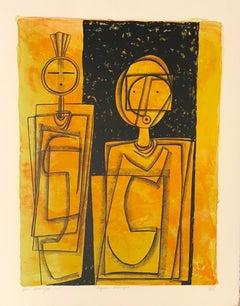 Mystic Images, Dan Namingha lithograph Hopi contemporary abstract Kachina images