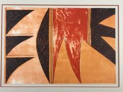 Nampeyo Motif, limited edition lithograph, Hopi, Tewa, pottery design, tan,red