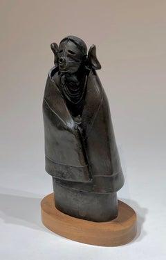 Morning Kachina by Dan Namingha, bronze sculpture, kachina, female, Hopi, brown