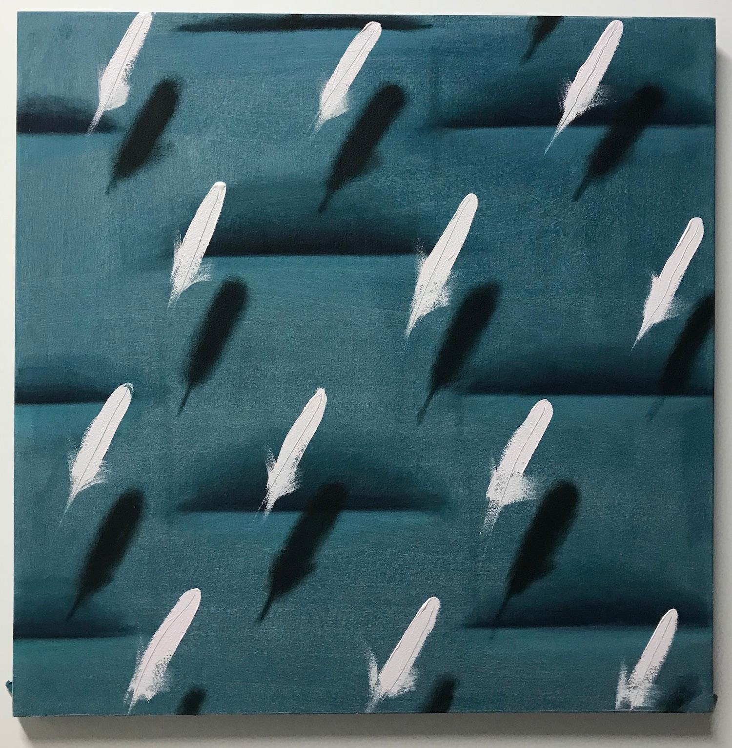 Feathers on Green Relief (white bird feathers teal green patterns square pop art