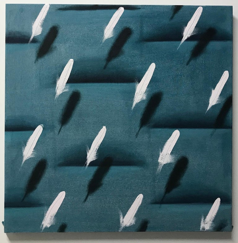 Dan Pelonis Figurative Painting - Feathers on Green Relief (white bird feathers teal green patterns square pop art