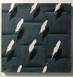 Feathers on Grey Relief (white bird feathers charcoal grey patterns square oil)
