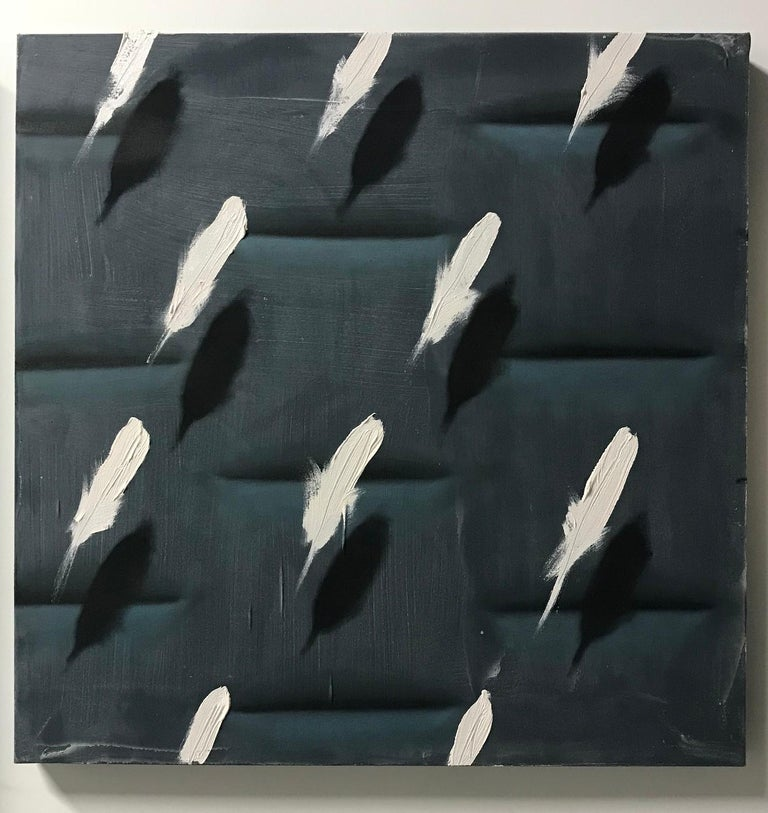 Dan Pelonis Abstract Painting - Feathers on Grey Relief (white bird feathers charcoal grey patterns square oil)