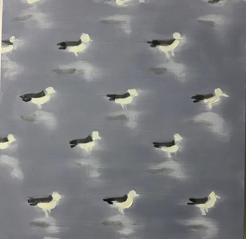 Seagulls on Grey (bird patterns square oil painting beach sea bird pop animal)