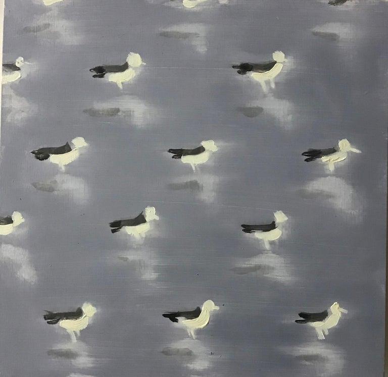 Dan Pelonis Abstract Painting - Seagulls on Grey (bird patterns square oil painting beach sea bird pop animal)