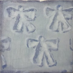 Snow Angels (patterns white snow square oil painting winter childhood pop art)