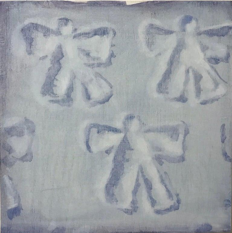 Dan Pelonis Figurative Painting - Snow Angels (patterns white snow square oil painting winter childhood pop art)