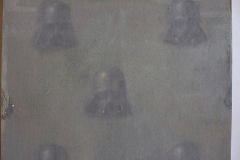 Vaders in fog  (StarWars patterns small square oil painting figurative abstract) - Pop Art Painting by Dan Pelonis