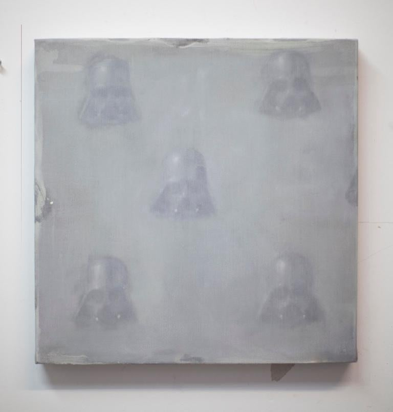 Vaders in fog  (StarWars patterns small square oil painting figurative abstract) - Brown Abstract Painting by Dan Pelonis