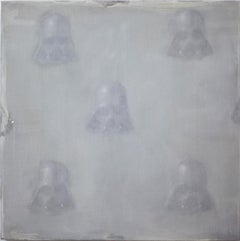 Vaders in fog  (StarWars patterns small square oil painting figurative abstract)