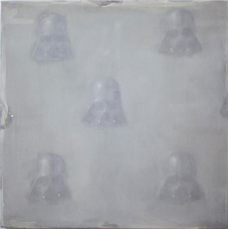 Dan Pelonis Abstract Painting - Vaders in fog  (StarWars patterns small square oil painting figurative abstract)