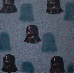 Vaders on patterns  (small square oil painting figurative abstract StarWars pop)
