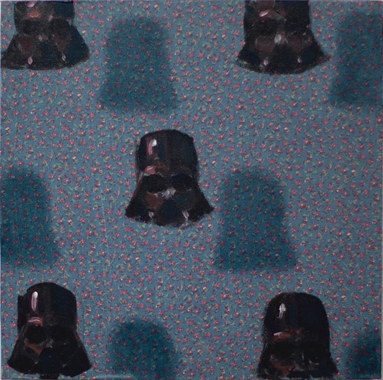 Vaders on patterns  (StarWars small square oil painting figurative patterns pop)
