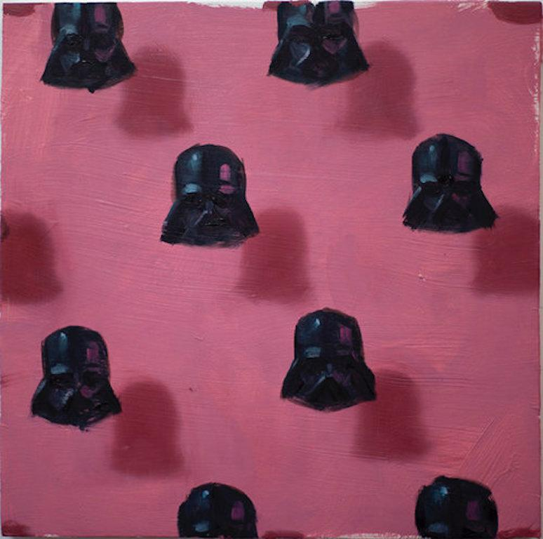 Vaders on pink (patterns small square oil painting figurative abstract StarWars)