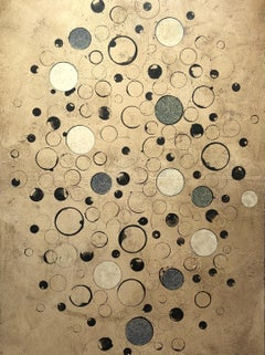 "DAN RIZZIE ""Rain"" mixed media abstract painting w circles"