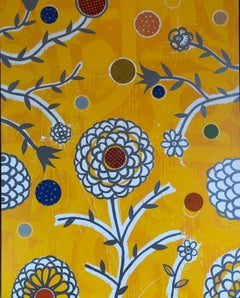 "DAN RIZZIE ""The Sanctuary"" large vertical bright yellow abstract flower painting"