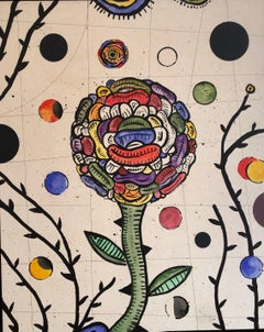 "DAN RIZZIE ""Rector's Garden"" contemporary colorful mixed media floral motif"