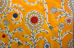 "Dan Rizzie, ""The Esplanade (In Yellow)"", bright yellow abstract floral painting"