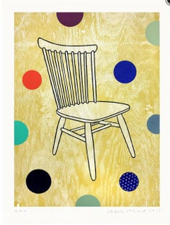 """DAN RIZZIE """"Chair"""" woodcut print of chair w colorful dots in background"""