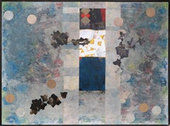 Large Abstract and Collage Painting on Canvas by Dan Teis