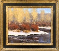 December Color (golden Aspen's, winding river, snow)