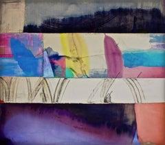 A Chameleon's Grace, Large Horizontal Painting, Dark Purple, Peach, Blue, Yellow