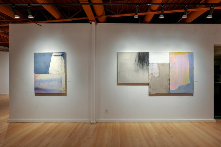 A Soft Detonation (Expressionist, Abstract, muted, triptych, painting, on linen) 4