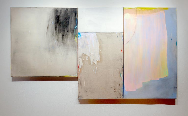 A Soft Detonation (Expressionist, Abstract, muted, triptych, painting, on linen) 1