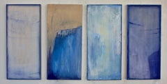A Swimmer in Sapphire, Four Panel Painting in Cobalt Blue, Violet, Periwinkle