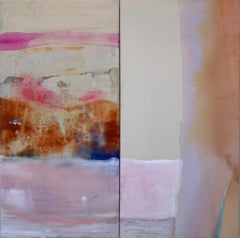 Bringing the Sun to its Knees, Large Square Diptych in Pink, Beige, Purple