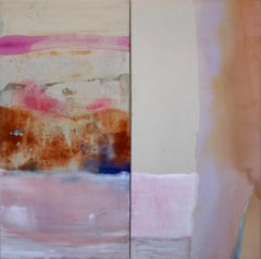 Bringing the Sun to Its Knees  (pink abstract diptych)