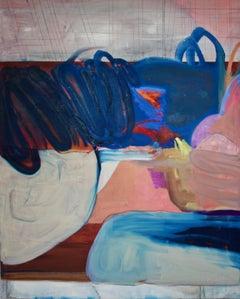 Phoenix, Large Vertical Abstract Painting Dark Cobalt Blue, Red, Peach, Purple