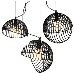 Dana Pendant Light, Black, Cluster of Three, from Souda, Made to Order