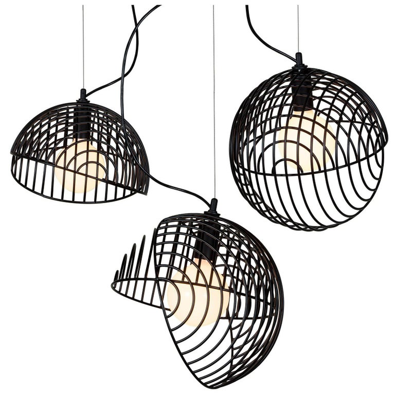 Dana Pendant Light, Black, Cluster of Three, from Souda, Made to Order For Sale