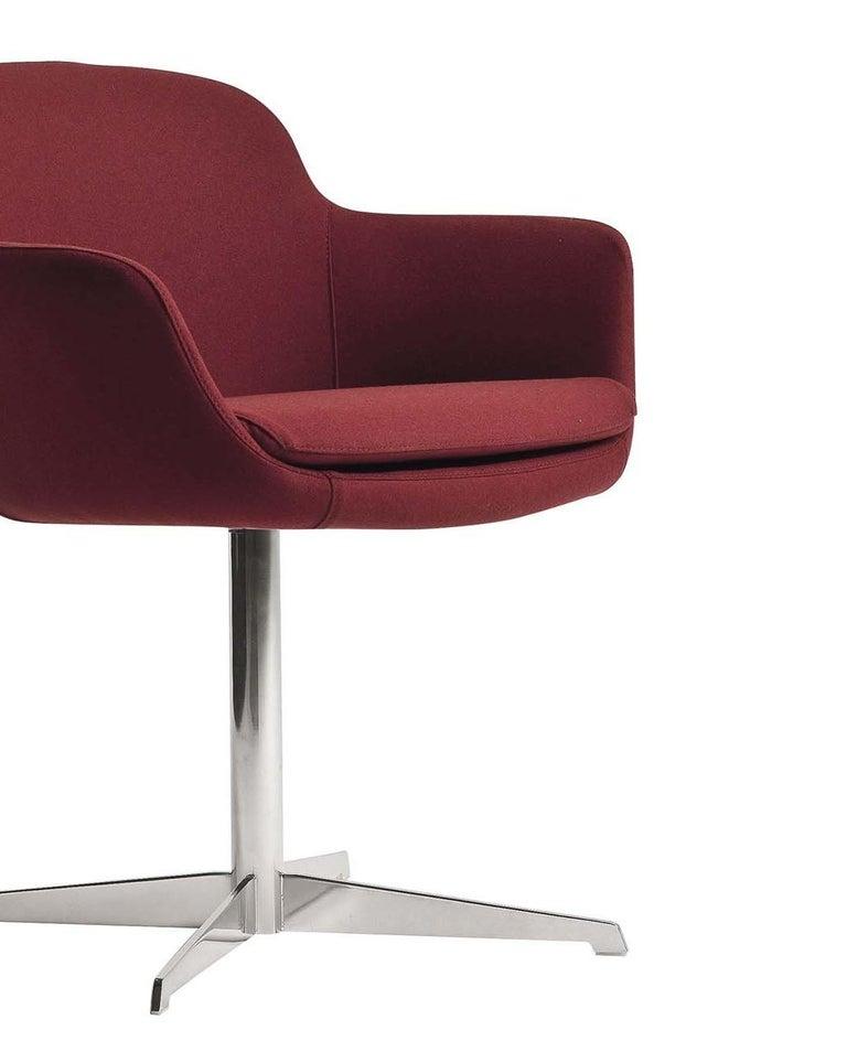 Italian Dana Red Swivel Armchair For Sale