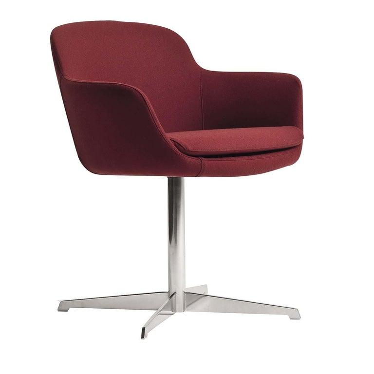 Dana Red Swivel Armchair For Sale