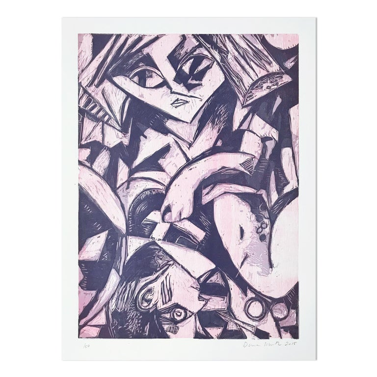 Dana Schutz Abstract Print - Back Surgery in Bed, Woodcut, 21st Century, Contemporary Painter, Female Artist