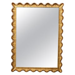 Danby Hand Carved Scalloped Italian Wood Mirror, 1950s