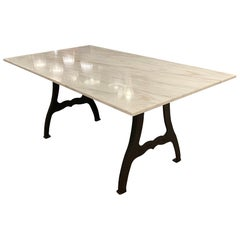 Danby Marble-Top Table with Cast Iron New York, NY Industrial Legs